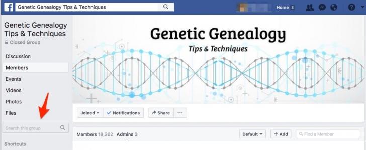 Search Facebook Group for Desktop