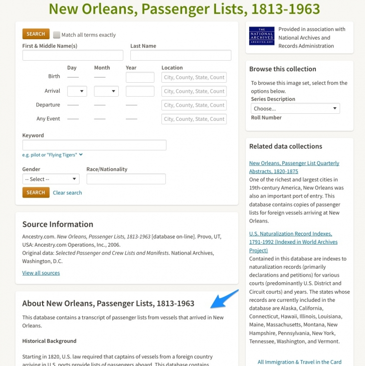 Learn about the Ancestry collection before searching