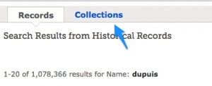 Collections Tab on FamilySearch