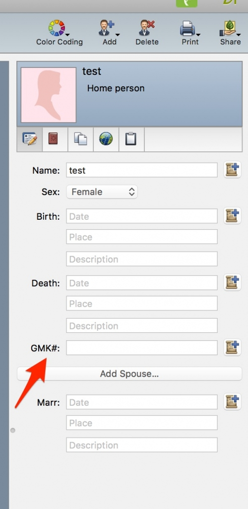 Custom fact added to individual fact panel in Family Tree Maker