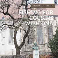 Image of church in Bratislava in background with tree in foreground and text Fishing for Cousins with DNA CollectingCousins.com