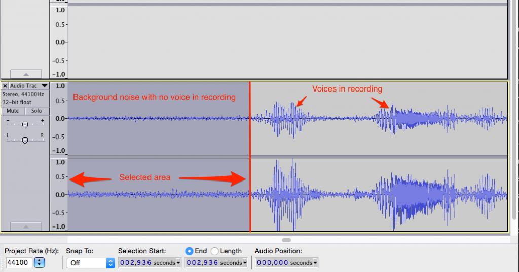 Isolating background noise in Audacity