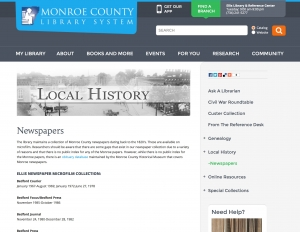 Historical newspapers held at the Monroe County, Michigan library