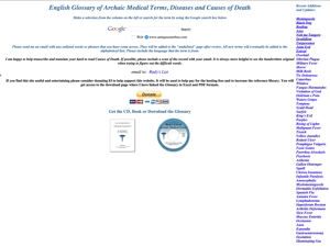 English Glossary of Archaic Medical Terms, Diseases and Causes of Death