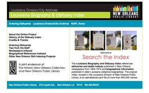 Louisiana obituary Index