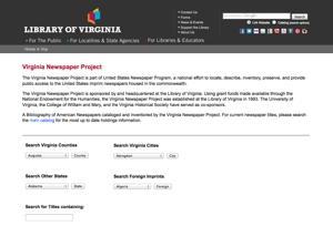 Library of Virginia Newspaper Holdings