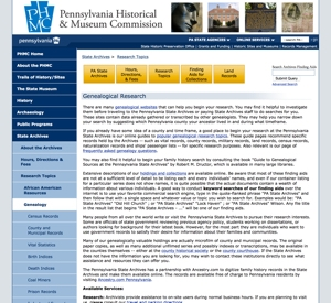 Genealogy records at the Pennsylvania State Archives
