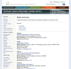 State Archives Listing