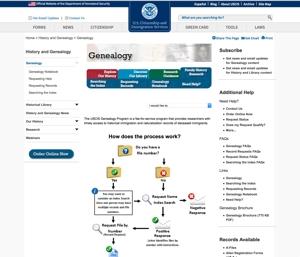 US Citizenship & Immigration Services Genealogy Page