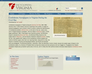 Confederate Newspapers in Virginia During the Civil War